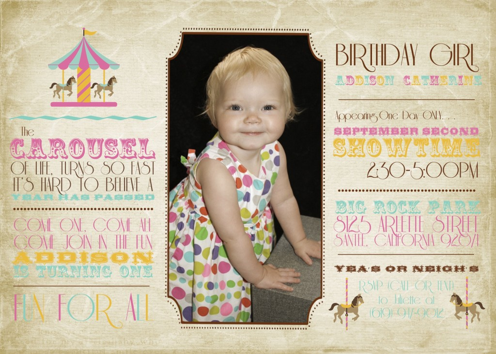 first birthday invitation, event planning in San Diego, Fun party ideas