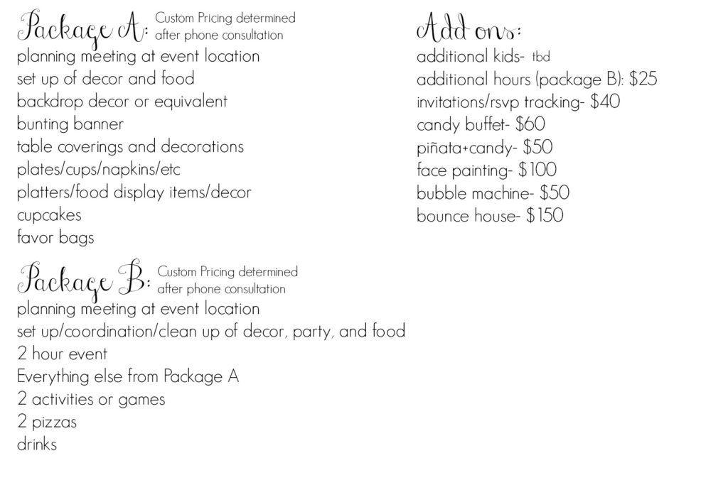 party packages (custom)
